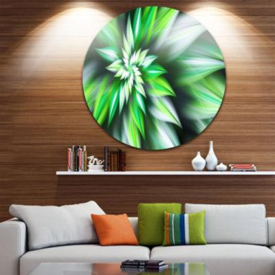 Design Art Dance of Green Exotic Flower Floral Round Circle Metal Wall Art