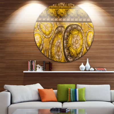 Design Art Golden Extraterrestrial Life Cells Floral Round Circle Metal Wall Art