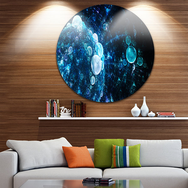 Design Art Blue Spherical Water Drops Floral RoundCircle Metal Wall Art