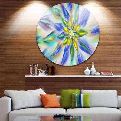 Design Art Dancing Blue Fractal Flower Floral Round Circle Metal Wall Art