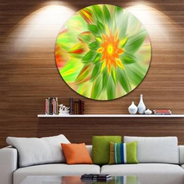 Design Art Dancing Green Fractal Flower Floral Round Circle Metal Wall Art
