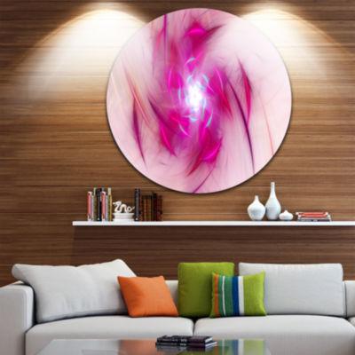 Design Art Purple Fractal Nuclear Reaction FloralRound Circle Metal Wall Art