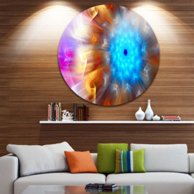 Design Art Multi Color Exotic Flower Petals FloralRound Circle Metal Wall Art