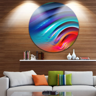 Design Art Beautiful Fractal Rainbow Waves FloralRound Circle Metal Wall Art