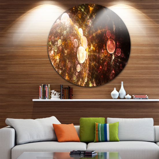 Design Art Brown World Bubbles Water Drops FloralRound Circle Metal Wall Art