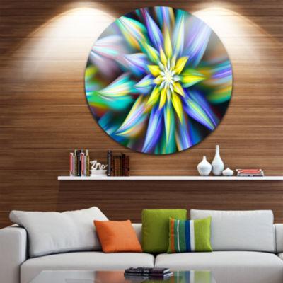 Design Art Dancing Multi Color Flower Petals Floral Round Circle Metal Wall Art