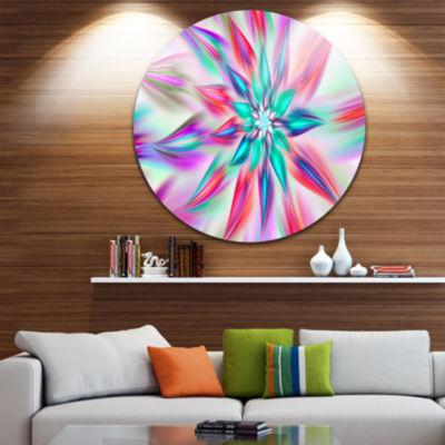 Design Art Dancing Pink Flower Petals Floral RoundCircle Metal Wall Art