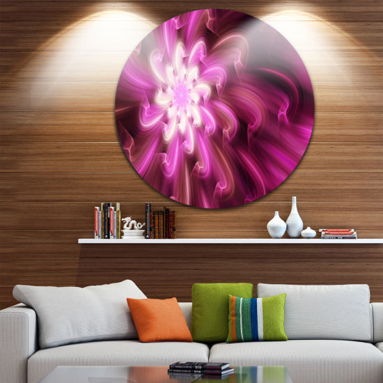 Design Art Exotic Dance of Purple Flower Petals Floral Round Circle Metal Wall Art