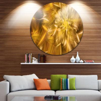 Design Art Exotic Dance of Golden Flower Petals Floral Round Circle Metal Wall Art