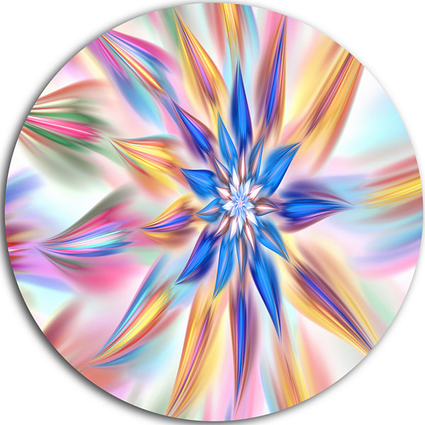 Design Art Exotic Dance of Multi Color Petals Floral Round Circle Metal Wall Art