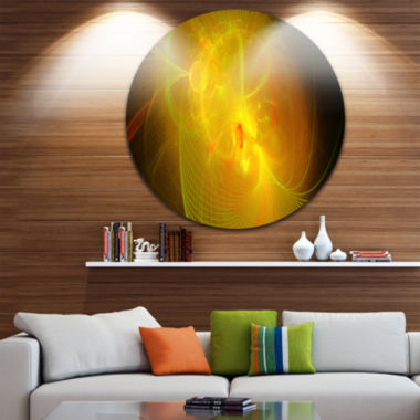 Design Art Distant Golden Space Nebula Floral Round Circle Metal Wall Art