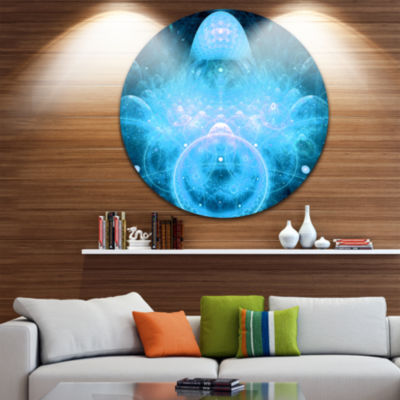 Design Art Infinite Light Blue Universe Floral Round Circle Metal Wall Art