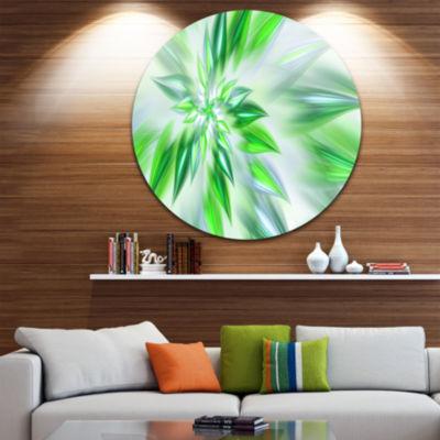 Design Art Exotic Dance of Green Petals Floral Round Circle Metal Wall Art