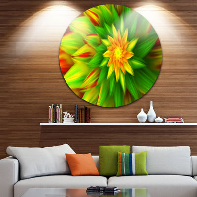 Design Art Amazing Dance of Green Petals Floral Round Circle Metal Wall Art