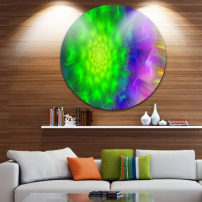 Design Art Spectacular Green Dandelion Floral Round Circle Metal Wall Art