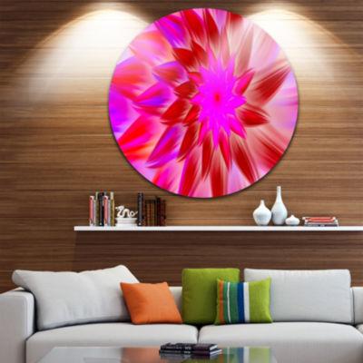 Design Art Beautiful Pink Flower Petals Floral Round Circle Metal Wall Art