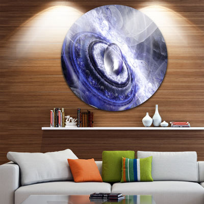 Design Art Beautiful Blue Flying Saucer Floral Round Circle Metal Wall Art