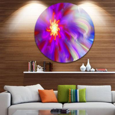 Design Art Beautiful Purple Flower Petals Floral Round Circle Metal Wall Art