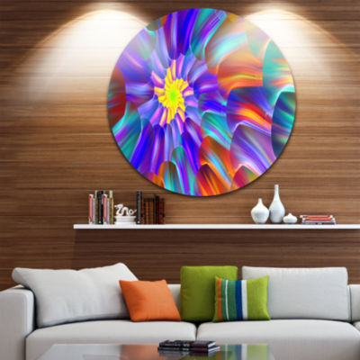 Design Art Spectacular Stain Glass with Spirals Floral Round Circle Metal Wall Art