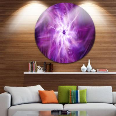 Design Art Rotating Bright Purple Fireworks FloralRound Circle Metal Wall Art