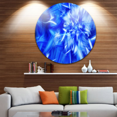 Design Art Rotating Bright Blue Fireworks Floral Round Circle Metal Wall Art