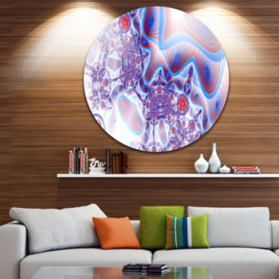 Design Art Beautiful Extraterrestrial Life Cells Floral Round Circle Metal Wall Art