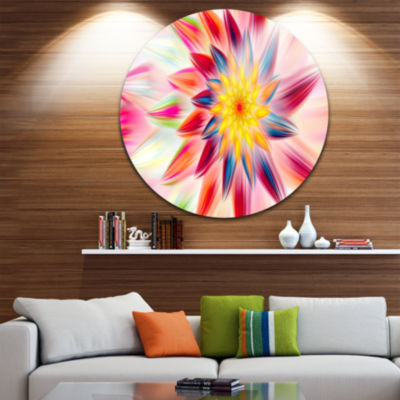 Design Art Pink Dancing Flower Petals Floral RoundCircle Metal Wall Art
