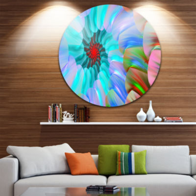 Design Art Blue Colored Stain Glass with Spirals Floral Round Circle Metal Wall Art