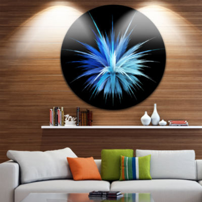 Design Art Colorful Blue Fountain of Crystals Floral Round Circle Metal Wall Art