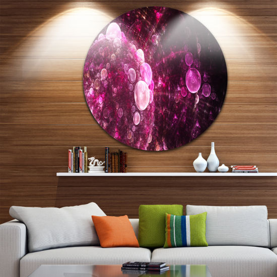 Design Art Pink on Black World Bubbles Floral Round Circle Metal Wall Art