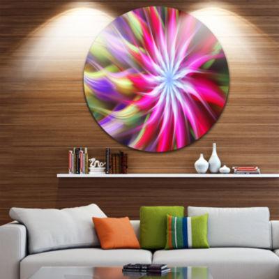 Design Art Pink Flower Dance Bright Spiral FloralRound Circle Metal Wall Art