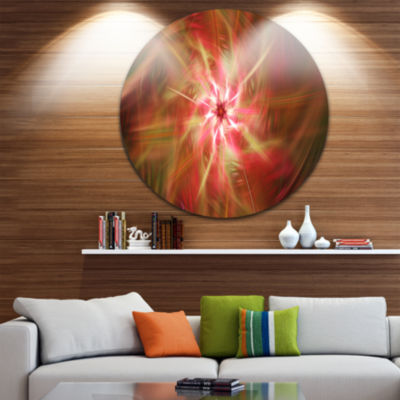 Design Art Rotating Brown Bright Fireworks FloralRound Circle Metal Wall Art
