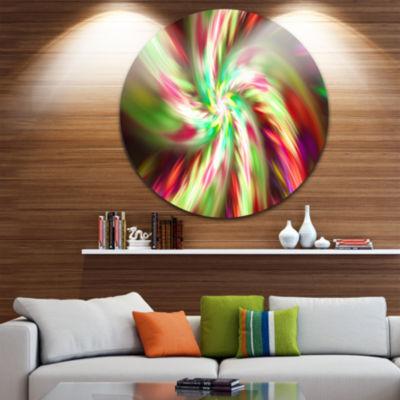 Design Art Exotic Multi Color Flower Petal Dance Floral Round Circle Metal Wall Art