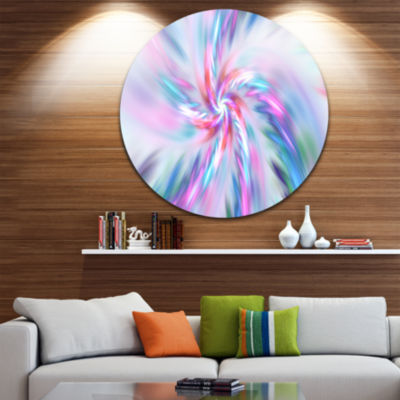 Design Art Exotic Light Blue Flower Petal Dance Floral Round Circle Metal Wall Art