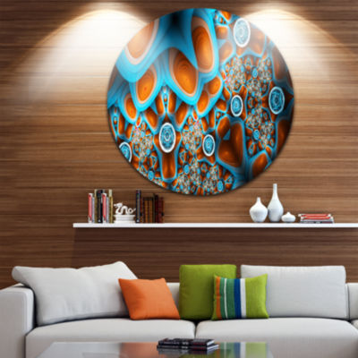 Design Art Brown Extraterrestrial Life Forms Floral Round Circle Metal Wall Art