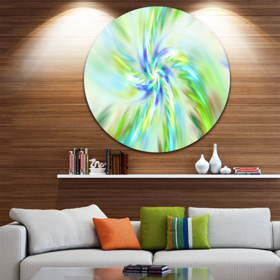 Design Art Dance of Bright Spiral Green Flower Floral Round Circle Metal Wall Art
