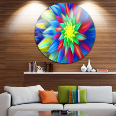 Design Art Dance of Bright Multi Color Flower Floral Round Circle Metal Wall Art