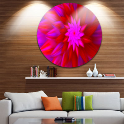 Design Art Dance of Bright Spiral Pink Flower Floral Round Circle Metal Wall Art