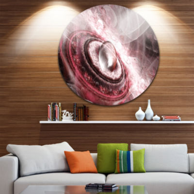 Design Art Crystal Rotating Flying Saucer Floral Round Circle Metal Wall Art