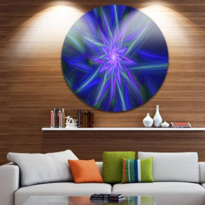 Design Art Shining Blue Exotic Fractal Flower Floral Round Circle Metal Wall Art