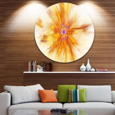 Design Art Shining Yellow Exotic Fractal Flower Floral Round Circle Metal Wall Art
