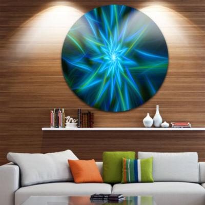 Design Art Shining Turquoise Exotic Flower FloralRound Circle Metal Wall Art