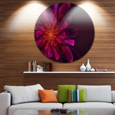 Design Art Large Pink Alien Fractal Flower FloralRound Circle Metal Wall Art