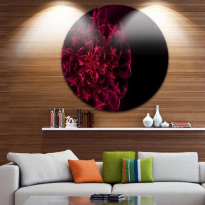 Design Art Large Red Alien Fractal Flower Floral Round Circle Metal Wall Art