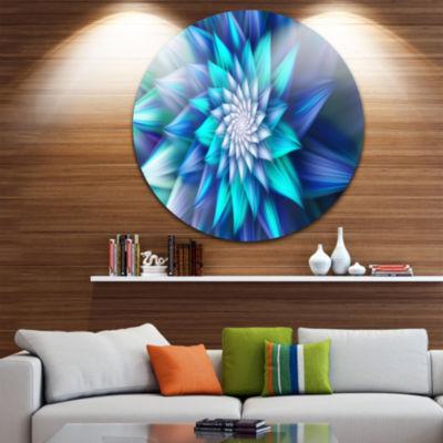 Design Art Large Blue Alien Fractal Flower FloralRound Circle Metal Wall Art