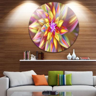 Design Art Large Multi Color Alien Fractal FlowerFloral Round Circle Metal Wall Art