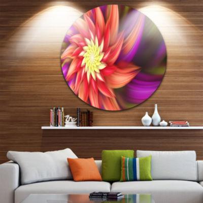 Design Art Large Red Purple Alien Flower Floral Round Circle Metal Wall Art