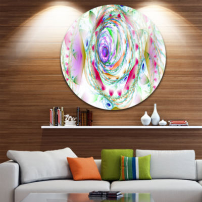 Design Art Multi Color Exotic Flower Whirlpool Floral Round Circle Metal Wall Art