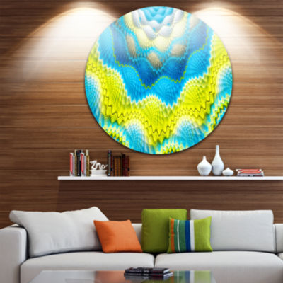 Design Art Blue Yellow Spiral Snake Skin Floral Round Circle Metal Wall Art