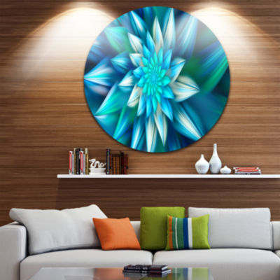 Design Art Huge Blue Fractal Flower Floral Round Circle Metal Wall Art